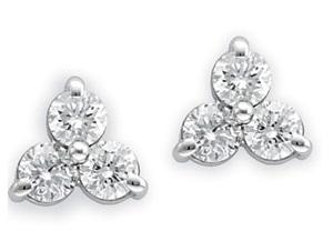 3 stone diamond earring